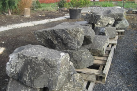 Grey basalt boulders